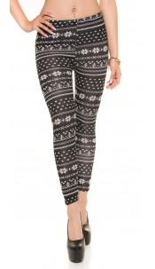 Trendy fluffy leggings in Norwegian Design Blackwhite