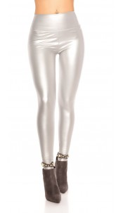 Sexy Wetlook Thermo Leggings Silver