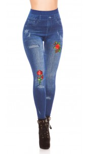 Sexy denim look leggings with patches & sequins Blue