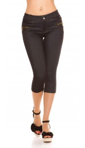 Sexy capri jeggings with deco zips and button Black
