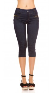 Sexy capri jeggings with deco zips and button Blue