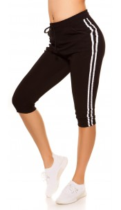 Trendy Capri Joggers with contrast stripes Black