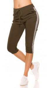 Trendy Capri Joggers with contrast stripes Khaki