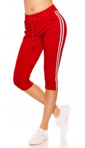 Trendy Capri Joggers with contrast stripes Red