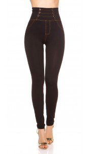 Sexy high waist leggings with decorative buttons Black