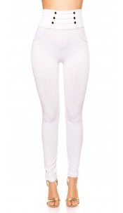 Sexy high waist leggings with decorative buttons White