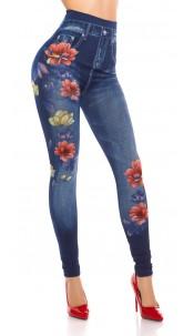 Sexy Jeanslook Leggings flowerprint & rhinestones Blue