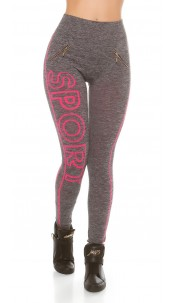 Trendy Workout Leggings with lettering Fuchsia