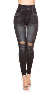 Sexy Jeanslook-Leggings with net & rhinestones Black
