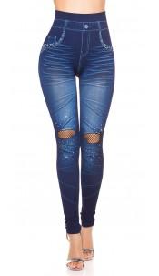 Sexy Jeanslook-Leggings with net & rhinestones Darkblue