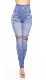 Sexy Jeanslook-Leggings with net & rhinestones Lightblue