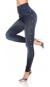 Sexy Jeanslook Leggings with beads Blue