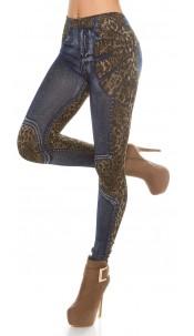 Trendy Jeanslook leggins with print Lightblue