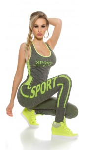 Trendy workout outfit with tanktop & leggins Neonyellow