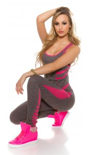 Trendy Workout Outfit with Top & Leggings Fuchsia