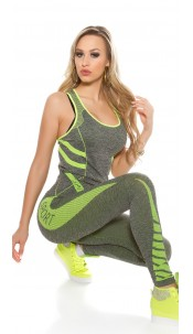 Trendy Workout Outfit with Top & Leggings Neonyellow
