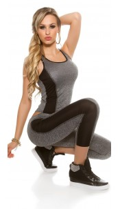 Trendy workout-sport outfit tanktop & leggings zwart