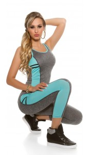 Trendy workout-sport outfit tanktop & leggings mintgroen