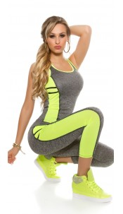 Trendy workout-sport outfit tanktop & leggings neongeel
