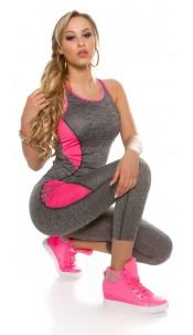 Trendy Workout Outfit Tanktop & Leggings Fuchsia