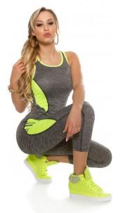 Trendy Workout Outfit Tanktop & Leggings Neonyellow