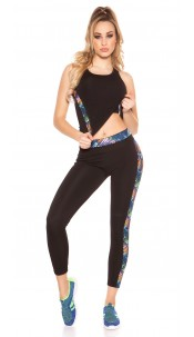 Trendy Workout Outfit With Top & Leggings Coloured