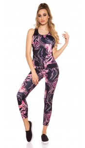 Trendy Workout Outfit Top & Leggings Fuchsia