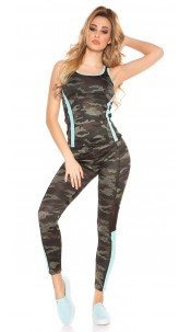 Trendy workout outfit with top & leggings Turquoise