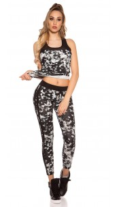 Trendy Workout Outfit With Top & Leggings Black