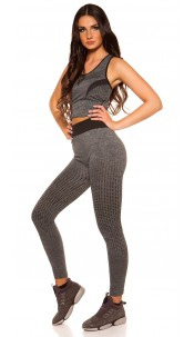 Trendy Workout Outfit Top + Leggings Black