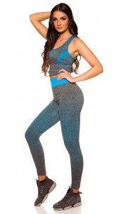 Trendy Workout Outfit Top + Leggings Blue