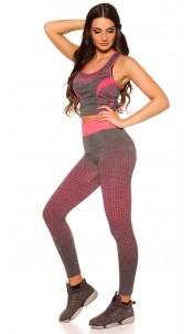 Trendy Workout Outfit Top + Leggings Fuchsia