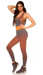 Trendy Workout Outfit Top + Leggings Neonorange