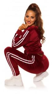 Trendy Nicky leisure suit set w. contrasst strip Bordeaux
