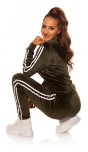 Trendy Nicky leisure suit set w. contrasst strip Khaki