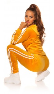 Trendy Nicky leisure suit set w. contrasst strip Yellow