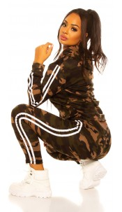 Trendy jogging suit army print Joggers & jacket White
