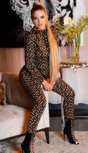 Trendy Jogging Suit with Print Brown