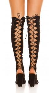 Sexy Overknees Peeptoe Boots Suede Look Black