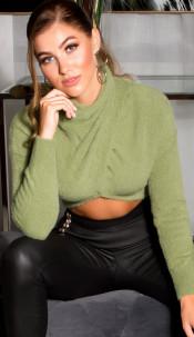 Sexy cozy cropped sweater-trui khaki