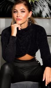 Sexy cozy cropped sweater-trui zwart