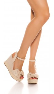 Sexy wedge heel sandal with bow Beige