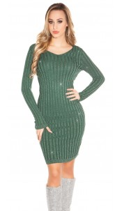 Sexy V-cut knit dress with glitter threads Green