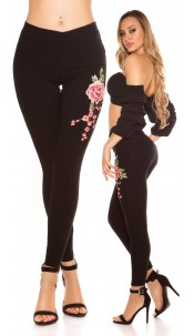 Sexy Treggins with floral embroidery Black