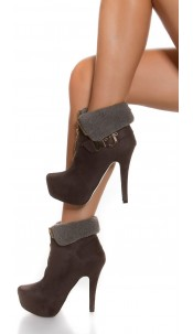 Sexy Ankle high heels lined with buckle+ Zip Anthracite