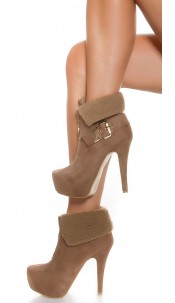 Sexy Ankle high heels lined with buckle+ Zip Cappuccino