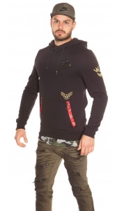Trendy men s hoodie with patches Black