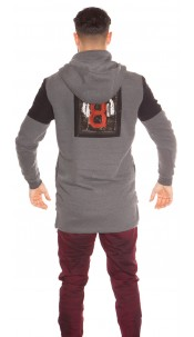Trendy men s hoodie with print Grey