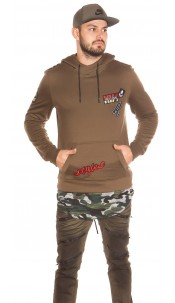 "Trendy men s hoodie ""Styler"" with patches Cappuccino"