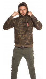 Trendy Men s Hoodie in Camouflage & Patches Khaki